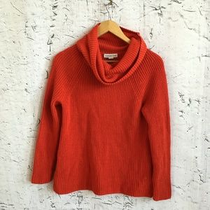 COLDWATER CREEK RED ORANGE COWL NECK SWEATER 8